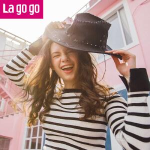 【秒杀价89】Lagogo/拉谷谷2019年冬季新款时尚条纹长袖针织衫