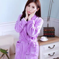 睡袍睡衣女秋冬季加厚法兰绒长袖可爱浴袍女珊瑚绒家居服浴衣紫色