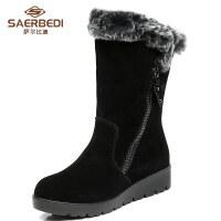真皮兔毛保暖中筒一脚蹬雪地靴女鞋冬季加绒平底2018新款厚底棉鞋SN5399