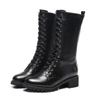 冬秋冬季防滑真皮中筒马丁靴女英伦风高帮加绒系带大小码雪地靴潮