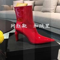 欧美风2018秋冬新款短靴女高跟细跟白色网红靴漆皮尖头马丁鞋女靴SN4475
