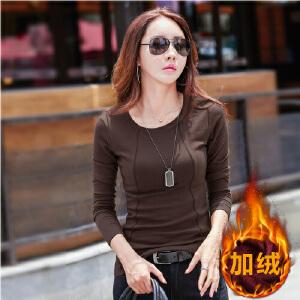 韩版新款哈苏线长袖打底衫卫衣加绒加厚保暖女士圆领上衣