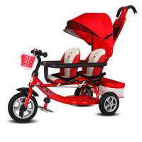 W 双胞胎三轮车儿童双人车12345岁二胎婴儿手推车宝宝脚踏车