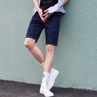 美特斯邦威牛仔短裤男士2018夏装新款织唛细节简约洗水牛仔中裤8