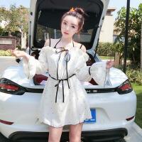 泰国潮牌性感甜美一字领木耳边黑色波点系带长袖吊带连衣裙 夏装