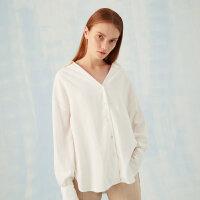 【1件2折到手价:79.8】MECITY女装白色简约纯色V领宽松韩版落肩慵懒小众长袖衬衫