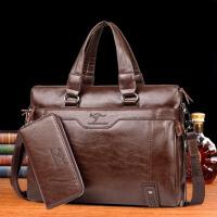 男包横款男士手提包商务出差公文包单肩斜跨包休闲男包包皮包