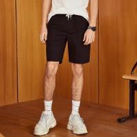 美特斯邦威旗下 4M梭织短裤男夏季新款男纯色基础百搭休闲中裤男士直筒裤五分裤