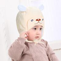 婴儿胎帽超软婴儿宝宝秋冬帽子帽套头护耳帽 均码