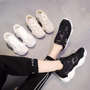 跑步网面女鞋秋冬款2018新款百搭爆款椰子鞋女学生韩版爆款时尚版