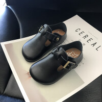 春季童鞋黑色真皮儿童皮鞋男女童单鞋宝宝休闲鞋子橡胶鞋底防滑鞋