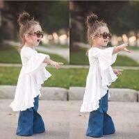 女童春装套装2018新款韩版牛仔喇叭裤儿童外套中小宝宝衣服两件套