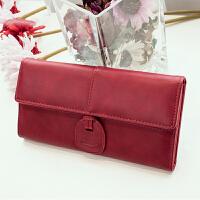 韩版钱包女式手机包 长款多卡位零钱包卡包女子钱包s6 酒红色