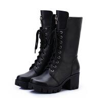 马丁靴女秋冬新款雪地靴棉鞋高跟鞋中筒靴粗跟厚底短靴加绒女靴子