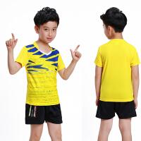 儿童乒乓球服女童羽毛球服套装男童短袖运动比赛球衣透气速干短裤 柠檬黄 3869B黄色