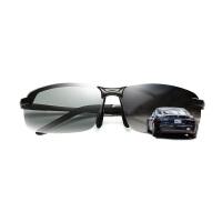 汽车司机护目镜变色偏光太阳镜男日夜两用眼睛司机开车专用墨镜汽车驾驶舒适眼镜 黑色 黑色框