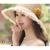 新款可折叠遮阳帽户外度假拉菲草帽女小清新海边沙滩帽