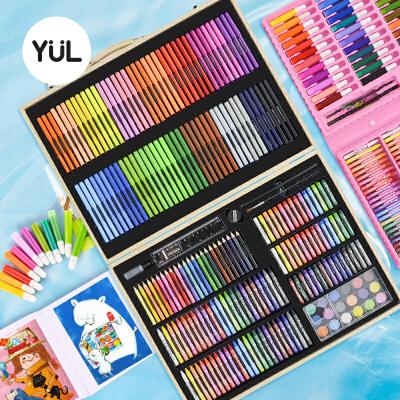 育良水彩笔套装安全可水洗儿童幼儿园水溶性水彩画笔套装彩笔颜色笔彩色笔美术学生蜡笔绘画套装画画工具礼品