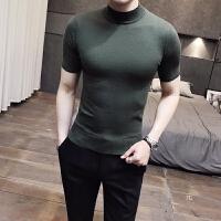 秋冬男士套头纯色毛衣打底衫青少年半高领羊毛衫短袖半袖针织衫潮 X