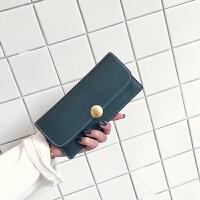 磨砂气质长款女士手拿钱包超薄简约两折搭扣多功能大容量钱夹女生