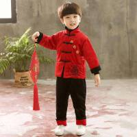 儿童汉服秋冬季上新2018新款男童中国风加绒加厚唐装二件套中小童
