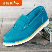 【领�幌碌チ⒓�120】红蜻蜓男鞋春秋新款皮鞋时尚潮流休闲单鞋舒适低帮套脚鞋