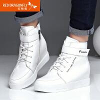 【领�幌碌チ⒓�120】红蜻蜓真皮女鞋新款正品全皮高帮鞋舒适内增高女棉鞋子