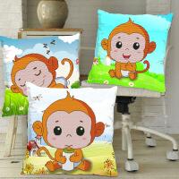 家居家居3D印花十字绣抱枕卧室可爱猴子卡通动漫客厅沙发情侣一对创意汽车 图片色