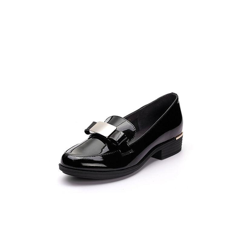 Teenmix/天美意春专柜同款漆牛皮蝴蝶结方跟乐福鞋女单鞋AP061AQ7