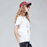 【1件2折到手价:27.8】美特斯邦威女潮流针织带帽短袖恤秋装新款