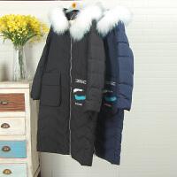 高端尖货2017当季新款冬季7W8043韩版中长款大毛领黑色时尚羽绒服