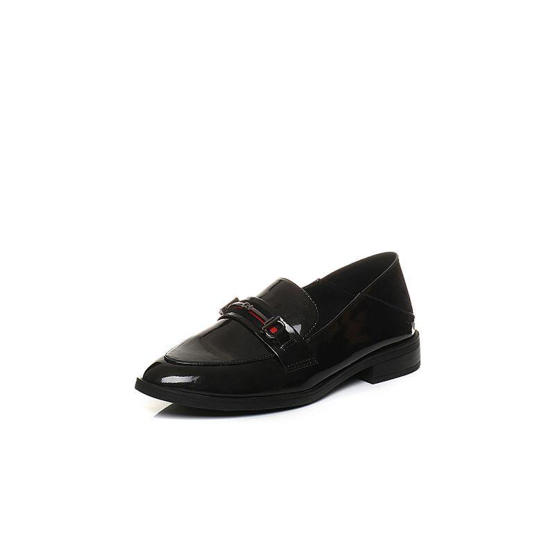 Teenmix/天美意2018春专柜同款漆皮方跟穆勒乐福鞋女单鞋6T505AQ8