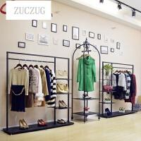 ZUCZUG欧式铁艺服装架落地式衣架复古服装架女装店展示架陈列架衣服架