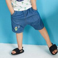 【1件2.5折叠券约:26,6月5日仅此一天】moomoo童装男童下装夏季新款纯棉卡通男幼童五分牛仔短裤