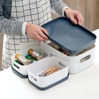 厨房桌面收纳盒橱柜餐具盒子 带盖塑料长方形储物盒化妆品整理盒