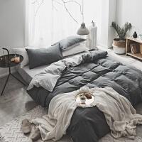 日式色织水洗棉四件套纯色双人床单被套学生宿舍床上用品