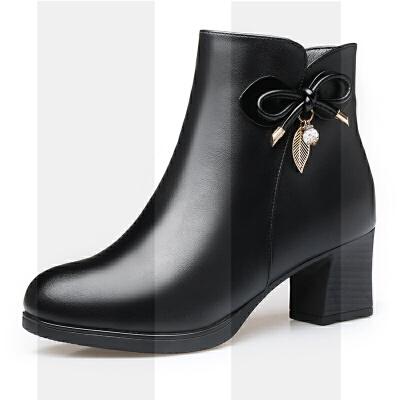 真皮妈妈短靴粗跟加绒保暖中老年人棉鞋秋冬款棉皮鞋中年妇女棉靴SN4670 黑色 加绒