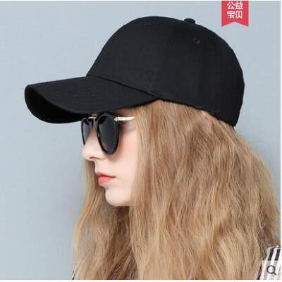 春夏天女士韩版棒球帽子纯白色黑色学生百搭防晒遮阳出游鸭舌帽 品质保证 售后无忧 支持货到付款