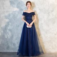 晚礼服女201新款春季高贵优雅宴会长款蓝色一字肩显瘦连衣裙修身