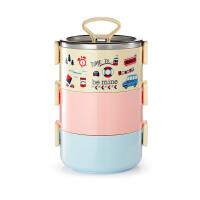 日式学生便当盒 多层可爱餐盒儿童2/3层 304不锈钢保温桶饭盒