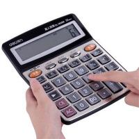 得力真人语音计算器1559N财务专用12位大号办公大按键大屏计算机