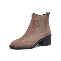 英伦风方头马丁靴粗跟及裸靴单靴2018秋冬新款女鞋磨砂中跟女短靴真皮