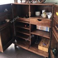 ZUCZUG双门复古红酒柜子美欧式餐边柜实木厨房收纳柜客厅储藏柜茶水橱柜 双门