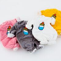 珊瑚绒女婴儿童睡衣连体衣服0岁3男宝宝1秋冬装冬季加绒外出抱衣