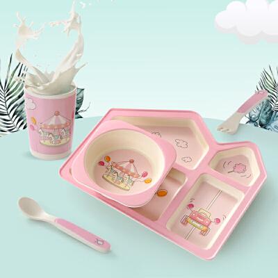 儿童餐具套装宝宝餐盘辅食碗碗勺学吃饭碗分格玉米竹纤维