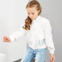 【1件2折到手价:69.8】米喜迪mecity童装春季女童时尚欧根纱荷叶边绣花茄克开衫外套