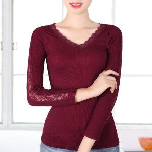 V领蕾丝女长袖打底衫针织秋冬新款韩版修身显瘦黑色螺纹美体上衣