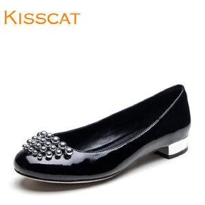 接吻猫2017春季新款金属装饰牛漆皮低跟浅口单鞋女DA87185-11