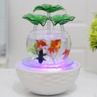 鱼缸装饰摆件客厅办公室内乔迁新居礼品工艺创意家居流水晶球
