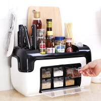 厨房置物架整理架调料罐瓶收纳架组合刀架多功能调味盒筷子收纳盒1